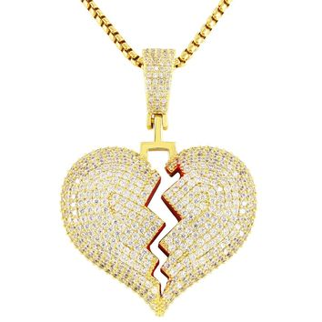 Mini Iced Out Red Broken Heart Solid Back Rapper Pendant Chain