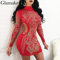 Glamaker Sexy lace up hot drilling bodycon dress Women side hollow out mini dress Party club turtleneck christmas dress vestidos