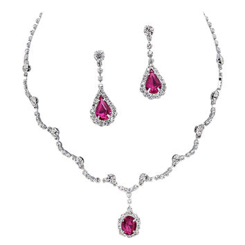 Elegant Fuchsia Pink Scallop Y Drop Crystal Bridesmaid Bridal Necklace Earring Set Wedding Bling