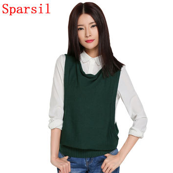 Sparsil Women's Autumn Ruffled Collar Cashmere Blend Knitted Sleeveless Vest Sweater Female Casual Loose Style Knitwear Jumper