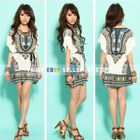 Fashion Women/Girl Boho Bat Sleeve Loose Casual Top Dress || Blue/Orange/Purple