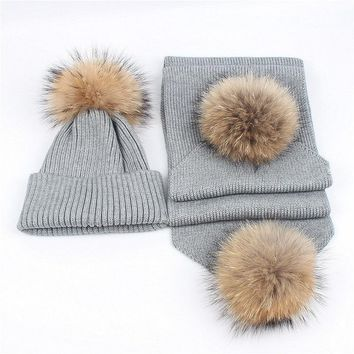 New Winter Children Kids Girls Hat Scarf set Raccoon Fur Ball Baby Hat Pom pom Beanies Baby Boys Girls Warm Fleece Cap Scarf Set