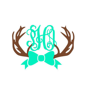 Deer Antlers Monogram Decal - Deer Decal - Yeti Decal - Custom Decal - Sticker - Name - Glitter - Custom Monogram - Hunting