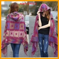 Ladies Warm Winter Hooded Wrap Poncho- 11 Variations Available