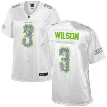 ESBYD9 Women's Seattle Seahawks Russell Wilson NFL Pro Line White Out Fashion Jersey