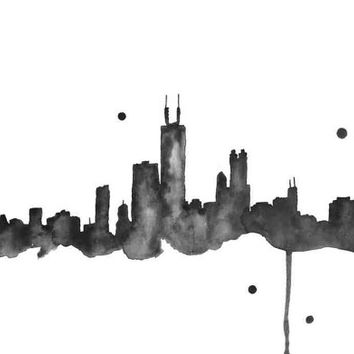 The Windy City, Black Version - Print from original watercolor illustration by Lexi Rajkowski