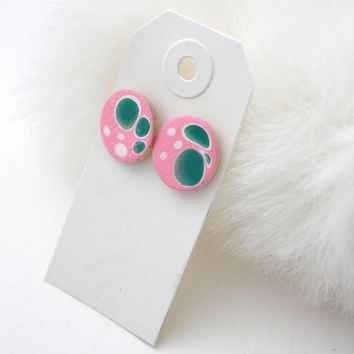 Pink Blue White - Pretty Painted Post Earrings - Microbiology - Sci-Fi Fashion Flu