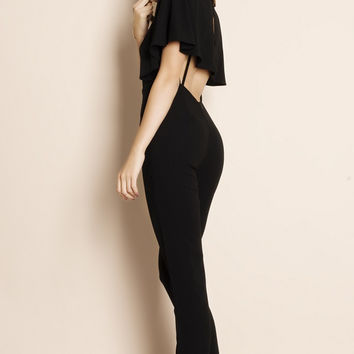 Albatross Cape Backless Crepe Jumpsuit (black)
