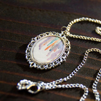 Watercolor art, Watercolor necklace, abstract watercolor, watercolor painting, watercolor pendant, pendant necklace, silver necklace