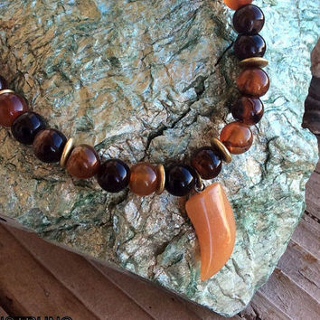 Men's Agate Necklace in Black and Brown, Men's Jewelry, Gemstone Jewelry, Healing Jewelry, Gift for him, Agate necklace, Men's necklace