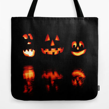 Trick or Treat Bag, Halloween Tote Bag, 3 Jack O' Lanterns, Smiling Jack O' Lanterns, Happy Halloween, Halloween Tote Bag, Black & Orange