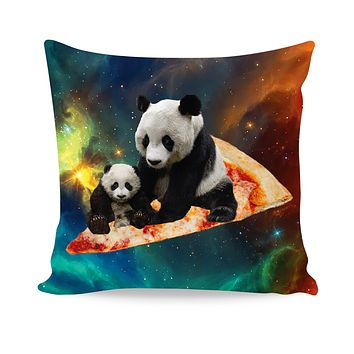 Space Pizza Panda Couch Pillow