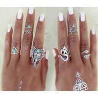 8Pcs/Set Silver Plated Vintage Hippie Tribal Ethnic Hippie Gothic Midi Knuckle Animal Ring Set Rings For Women