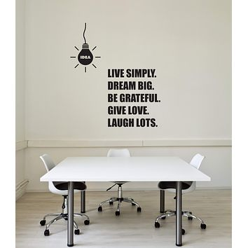 Vinyl Wall Decal Office Lightbulb Idea Inspirational Quote Words Interior Stickers Mural (ig5837)
