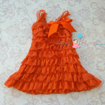 Fall Orange Petti lace dress, ruffle dress, baby girls dress,Birthday outfit, flower girl dress,Thanksgiving,girls dress,baby girl,halloween