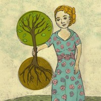 Giclee Art Print - Plant the Future - Woman with Tree and Root Nature