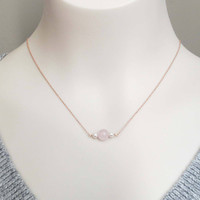 Triple, Beads, Rose quartz, Pearl, Gold, Silver, Rose gold, Necklace, Lovers, Friends, Mom, Sister, Gift