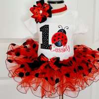 Baby Girl first Birthday Outfit,Ladybug First Birthday Outfit,Girls 1st Birthday Outfit,ladybug Birthday Outfit,1st Birthday Outfit girl