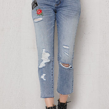 PacSun Brad Blue Ripped Patched Girlfriend Jeans at PacSun.com