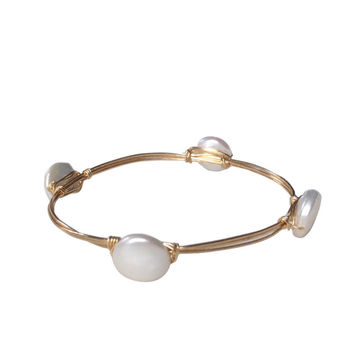 Anna Pearl Handwire Wrapped Bangle