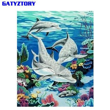 GATYZTORY Frameless Dolphin Animal IY Painting By Number Wall Art Picture Paint By Number Canvas Painting For Home Decor Artwork