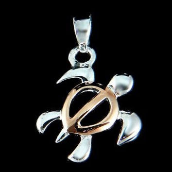 STERLING SILVER 925 HAWAIIAN HONU SEA TURTLE PENDANT SMALL 2 TONE PINK ROSE GOLD