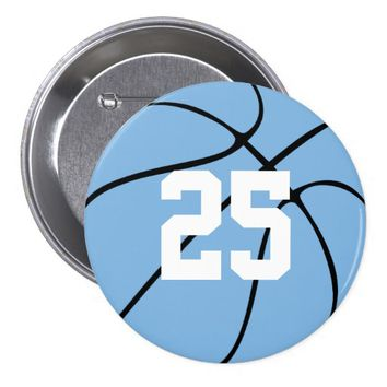 Carolina Blue Light Blue Custom Basketball Button