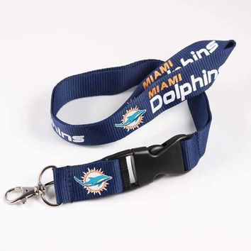 USA Football Miami Dolphins Lanyard Neck Strap For ID Pass Card Badge Gym Key/Mobile Phone USB Holder DIY Hang Rope Necklace