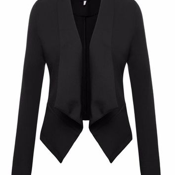 Savannah Asymmetrical Drape Collar Blazer