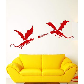 Vinyl Wall Decal Fire-Breathing Dragons Fantasy Fairy Tale Stickers (2629ig)