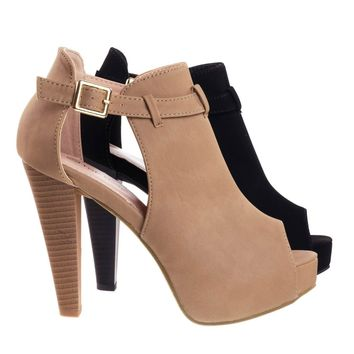 Table45 Tan By Top Moda, Stacked Block Heel Ankle Boots w Peep Toe, Side Cutout & Hidden Platform