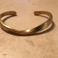 Vintage Sausalito Craftworks Bracelet Brass Twisted Wave Cuff Jewelry