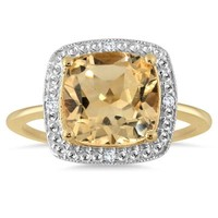 2.15 Carat Cushion Cut Citrine and Diamond Halo Ring in 18K Yellow Gol
