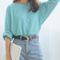 Green Striped Printed Long Sleeve Side Split Loose T-shirt