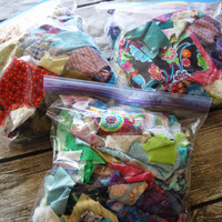 Bag of Scrap Fabrics / over 8 oz in each bag / cottons / brights / pastels / solids / prints /