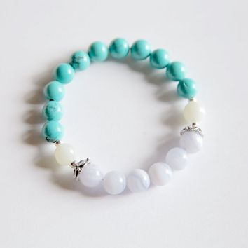 Sagittarius Sign ~ Genuine Blue Lace Agate, Turquoise and Moonstone Bracelet w/ Sterling Silver Accents