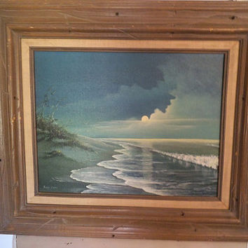 Vintage Beach painting ~ Seascape ~ chunky wooden frame ~ Romantic Beach Cottage ~ Signed