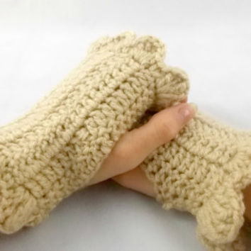 Beige - Hand Crochet fingerless gloves