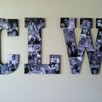 Three Custom Collage Photo Letters by picketfencecrafts on Etsy