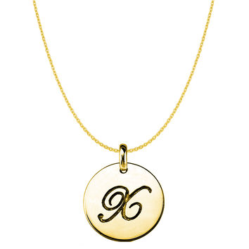 """""""X"""" 14K Yellow Gold Script Engraved Initial Disk Pendant"""