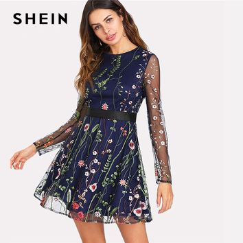SHEIN Floral Embroidered Mesh Overlay Fit & Flare Dress 2018 Round Neck Long Sleeve Elegant Dress Women Short Party Dress