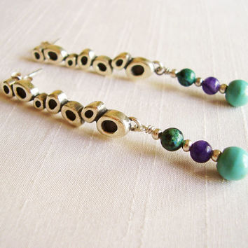 Sterling Silver and Stones Long Earrings - Turquoise Chrysocolla Amethyst - Silver turquoise blue green purple - Organic Circles Texture