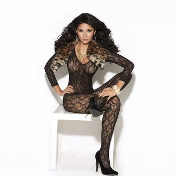 Sexy black long sleeve lace bodystocking.