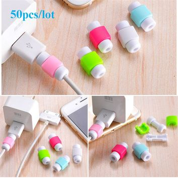 50pcs/lot Simple Cute Cable Wire Protector Data Line Cord Protective Case Cable Winder Cover For iPhone USB Color Charging Cable