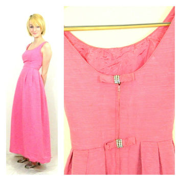60s vintage pink tea dress / Formal gown / Rhinestone bow / Fitted mid century Will Steinman maxi dress / Low back