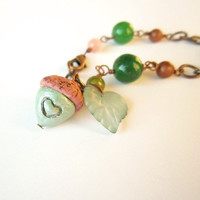 Acorn bracelet green brown bead OOAK by FlowerLandShop on Etsy