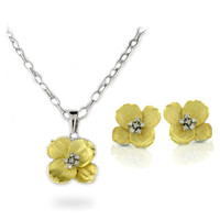 Charlotte's Gold Dogwood Flower CZ Necklace & Earrings Set