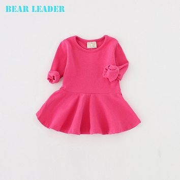 New Spring Casual Style Pure cotton falbala long sleeved dress Baby candy color Lovely princess dress