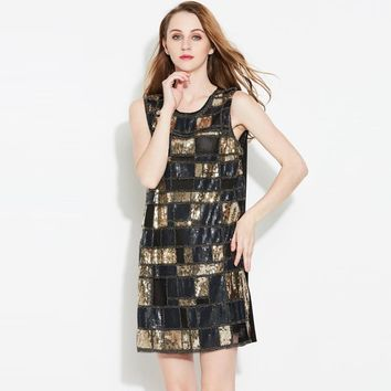Vintage Women Round Neck Sleeveless Plaid Sequined Beaded Shift Dress Bling Flapper Straight Party Dress
