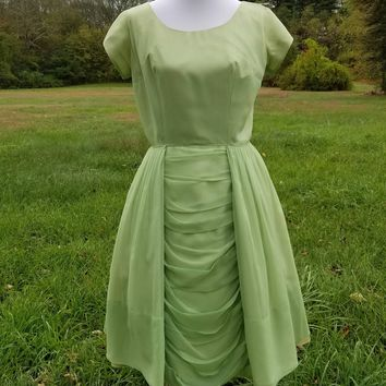 Vintage 1950s Sage Lime Green Chiffon Pleated Drape Ruched Full Skirt Dress